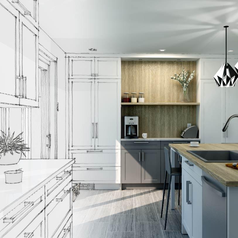 image d'une cuisine blanche et bois